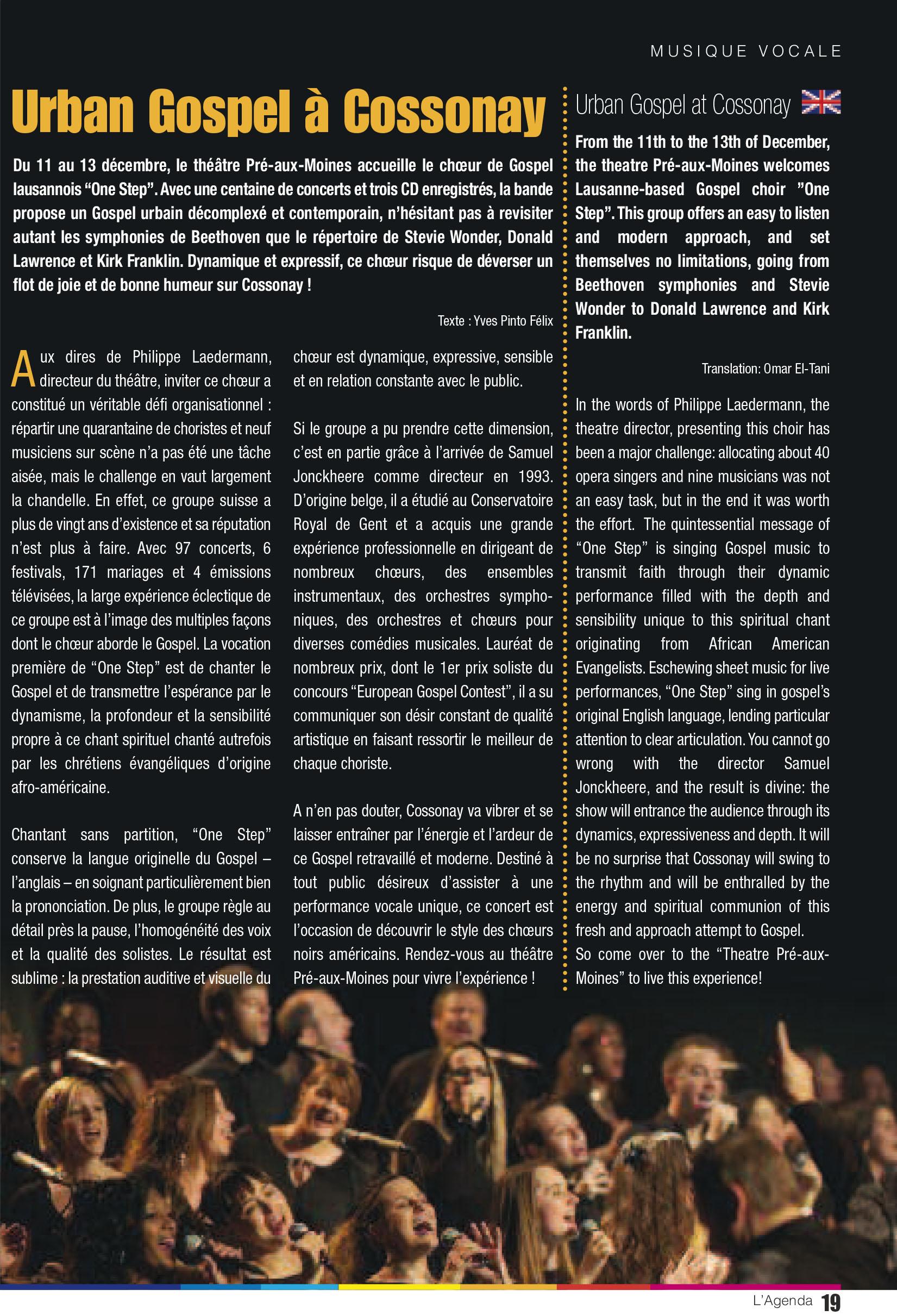 L'Agenda – La revue culturelle de l'Arc lémanique, novembre - décembre 2015