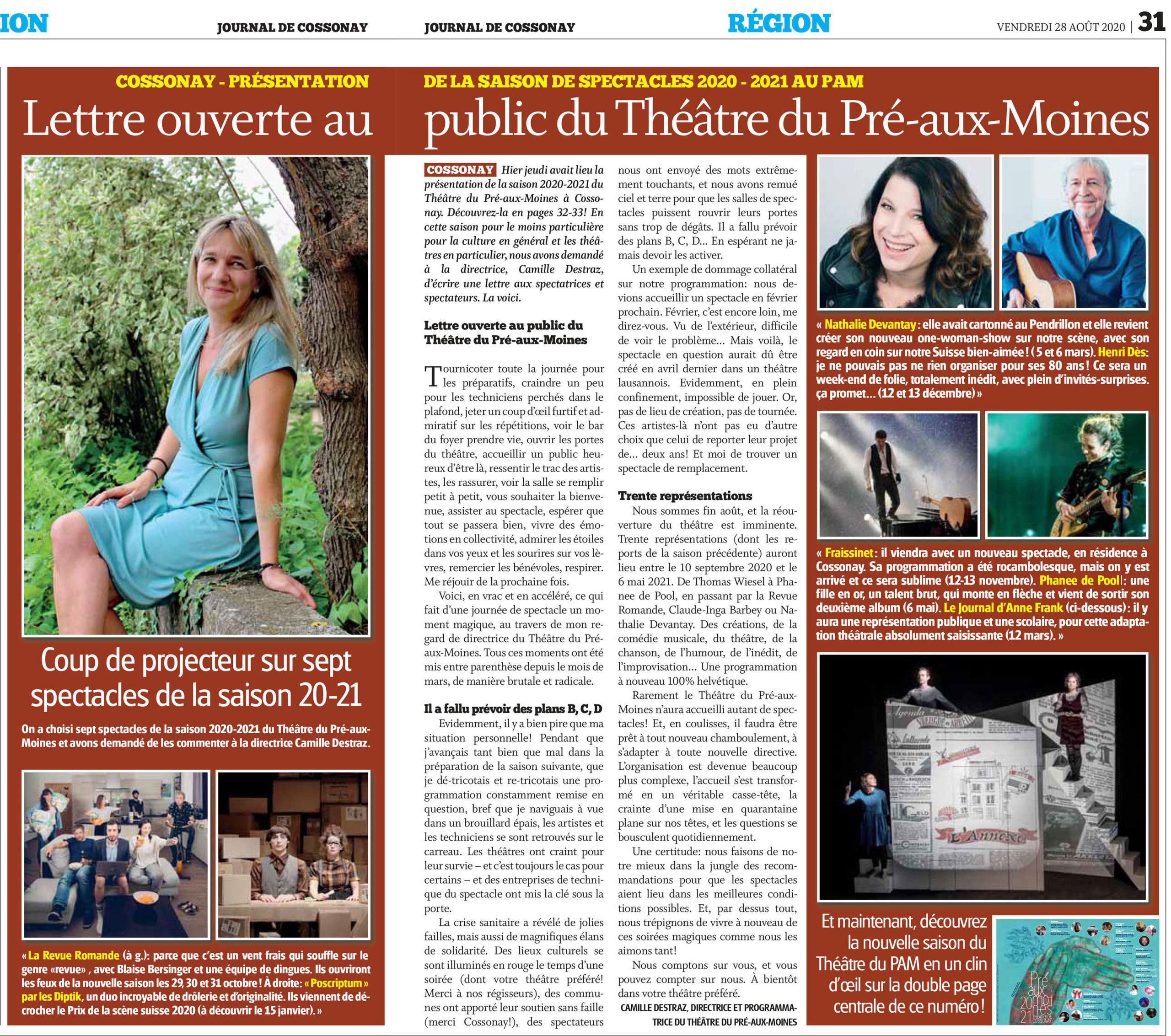 Journal de Cossonay, 28.08.2020